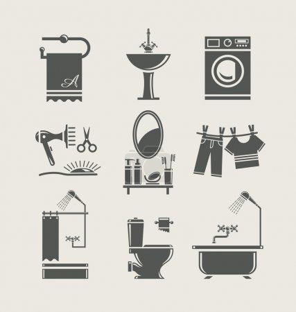 Illustration for Bathroom equipment set icon vector illustration - Royalty Free Image