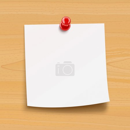 Paper notice with pin on wooden plate