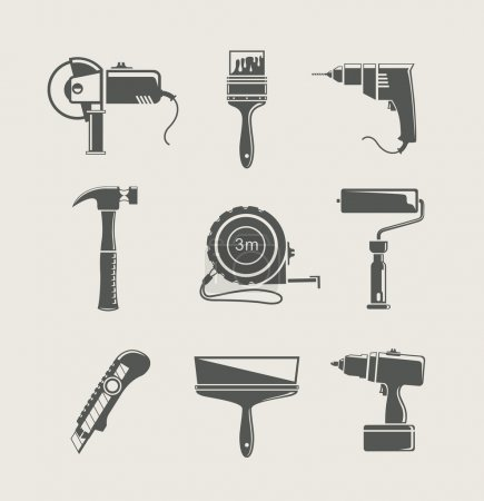 Photo for Building tool icon set vector illustration isolated on background - Royalty Free Image