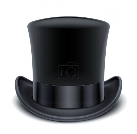 Illustration for Black top hat vector illustration isolated on white background EPS10. Transparent objects and opacity masks used for shadows and lights drawing - Royalty Free Image