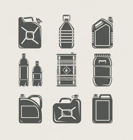 Plastic and metallic can set icon