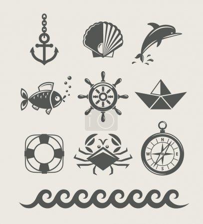 Sea and marine symbol set of icon