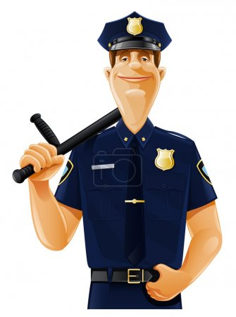 Illustration for Policeman with truncheon vector illustration isolated on white background - Royalty Free Image