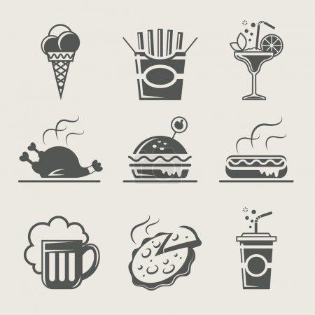 Photo pour Ensemble de restauration rapide et de boissons d'illustration vectorielle icône - image libre de droit