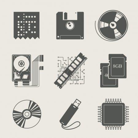 Storage information set of icon