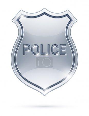 Illustration pour Illustration vectorielle de badge de police isolée sur fond blanc EPS10. Objets transparents utilisés pour le dessin d'ombres et de lumières - image libre de droit