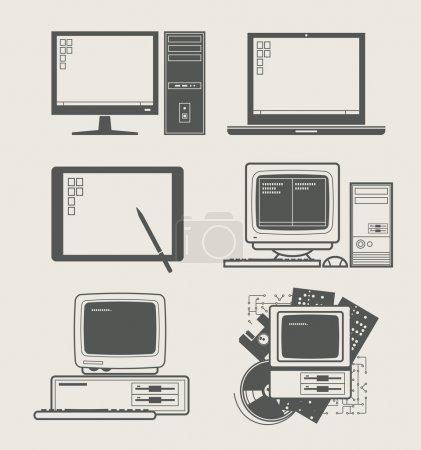 Illustration for Computer new and old set icon vector illustration - Royalty Free Image