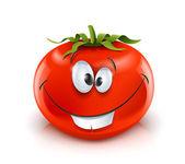 Smiling red ripe tomato