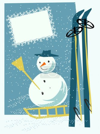 Card with snowman