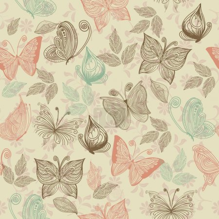 Illustration for Seamless retro floral background with butterflies - Royalty Free Image