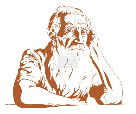 Illustration for The sad old man leaning and looking at you. - Royalty Free Image