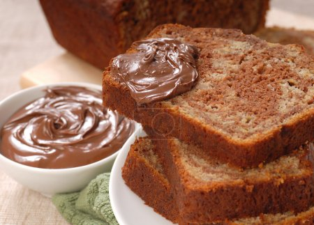 Banana and chocolate nut bread with Nutella