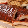 Delicious BBQ ribs with toasted bread, cole slaw a...