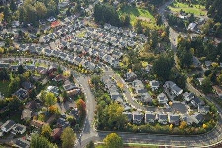 Photo pour Le soleil du soir brille dans un quartier de banlieue de Washington - image libre de droit