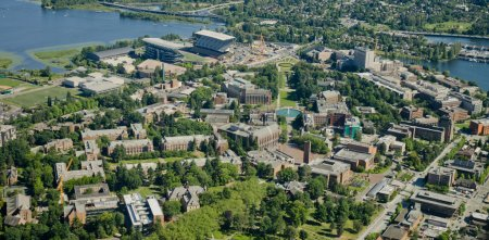 Photo pour Vue aérienne de l'Université de Washington depuis le Nord-Ouest - image libre de droit