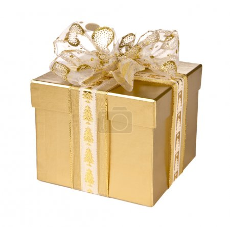 Golden paper gift box, isolated on white background