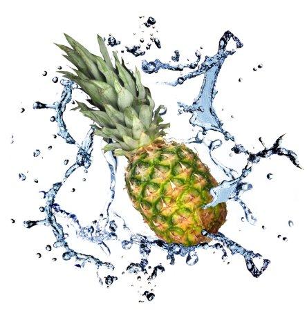 Photo pour Pomme de pin avec éclaboussure d'eau, isolée sur fond blanc - image libre de droit