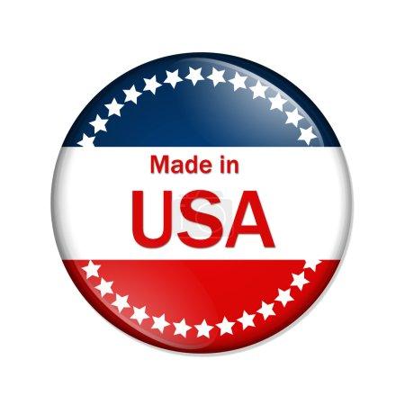 Photo pour Un bouton rouge, blanc et bleu avec made in e.u. isolé sur fond blanc, réalisé dans le bouton usa - image libre de droit