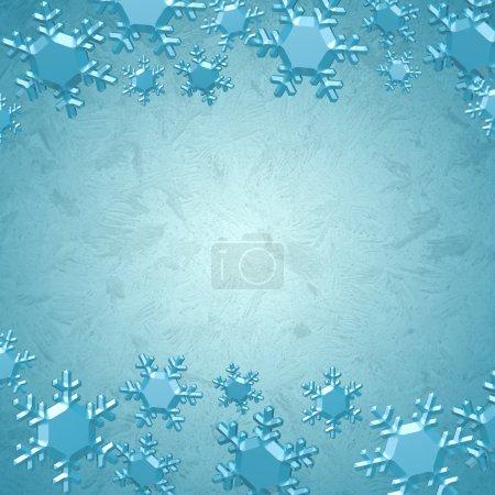 Photo pour Flocons de neige bleues sur un fond bleu glacier avec espace copie, fond hiver - image libre de droit