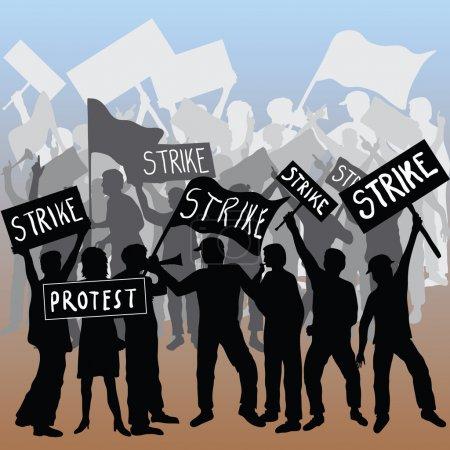 Photo pour Grève des travailleurs et protestation - image libre de droit