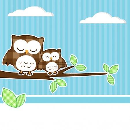 Illustration pour Carte avec deux hiboux sur branche avec fond textile. - image libre de droit