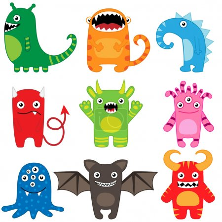 Illustration for Set of different cute funny cartoon monsters - Royalty Free Image