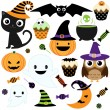 Set of cute vector Halloween elements, objects and...