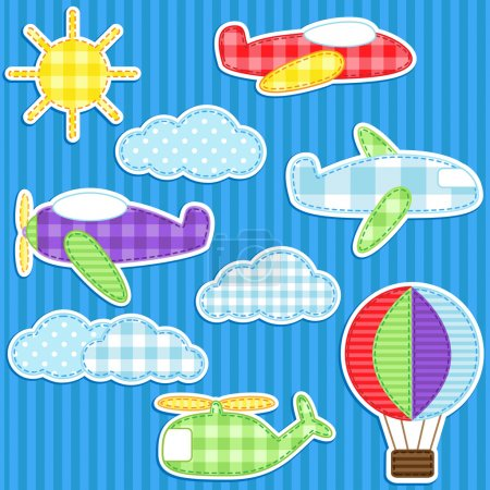 Illustration for Set of cute vector colorful aircraft stickers - Royalty Free Image