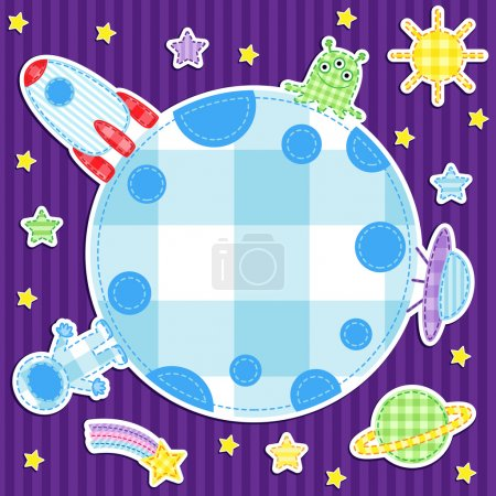 Illustration for Space background with cute astronaut, alien, spacwships - Royalty Free Image