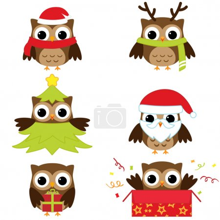 Illustration for Christmas and New Year's owls in funny costumes - vector set - Royalty Free Image