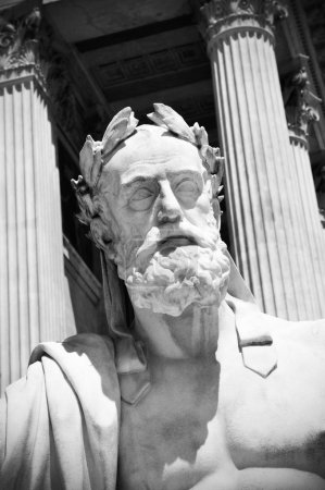 Photo for Portrait of a Greek philosopher against ancient colonnade suitable as classical background - Royalty Free Image