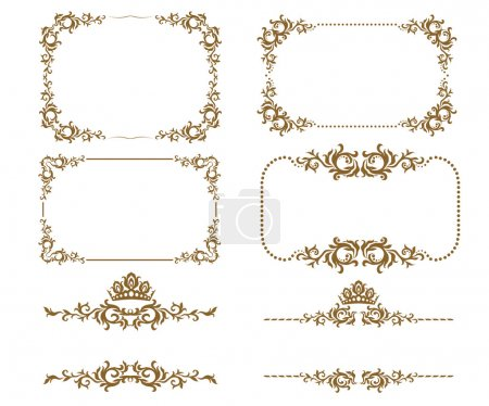 Illustration for Vector set of decorative horizontal elements, border and frame. Basic elements are grouped. - Royalty Free Image