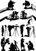 High detail illustrations of various cameraman silhouettes