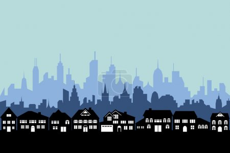 Illustration for Suburbs and the urban city silhouette - Royalty Free Image