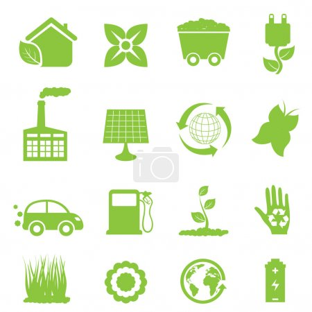 Illustration for Recycling and clean energy icon set - Royalty Free Image