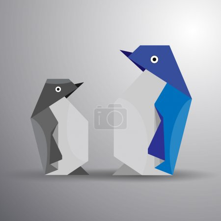 Vector origami couple of penguin