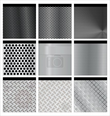 Metal texture 9 set. Illustration vector.