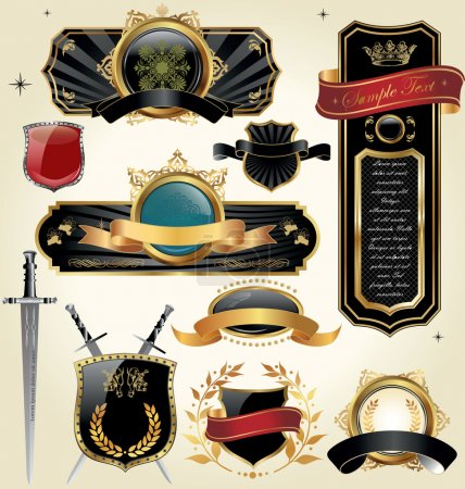 Illustration for Vector set: black and gold-framed labels - Royalty Free Image