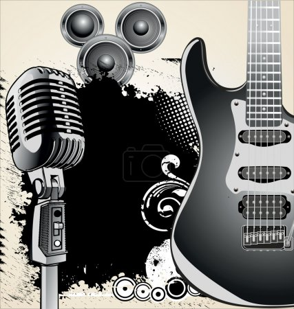 Vector retro music background with microphone