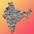 India outline map filled with a collage made of large collection of photos displaying Indian monuments and famous places