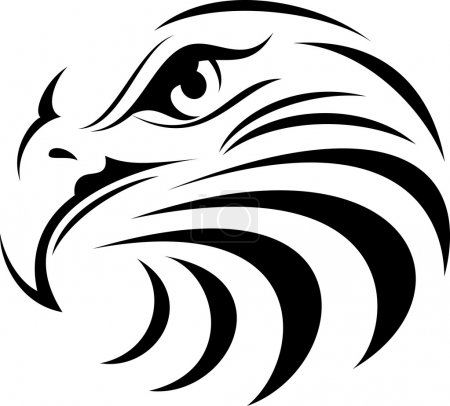 Illustration for Illustration of eagle face silhouette - Royalty Free Image