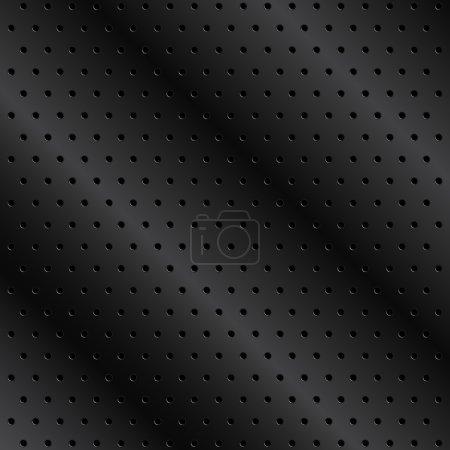 Illustration pour Fond en métal noir avec trous - image libre de droit