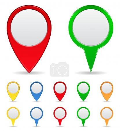 Illustration pour Ensemble vectoriel de marqueurs cartographiques - image libre de droit