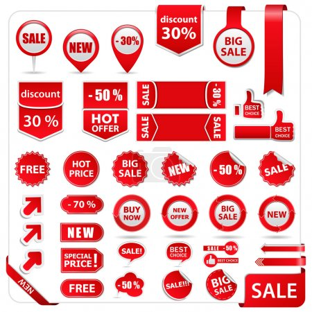Illustration for Vector set of red price tags, labels, stickers, arrows and ribbons - Royalty Free Image
