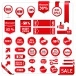 Vector set of red price tags, labels, stickers, ar...