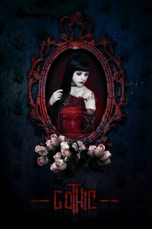 Gothic girl in red corset and roses. Collage....