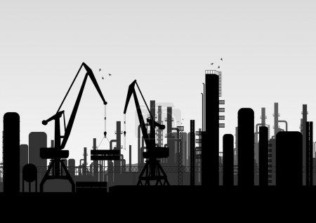 przemysłowe fabryka krajobrazu ilustracji