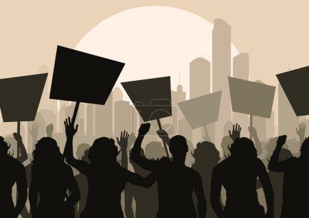 Protesters crowd landscape background illustration...
