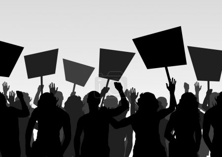 Illustration for Protesters crowd landscape background illustration for card - Royalty Free Image