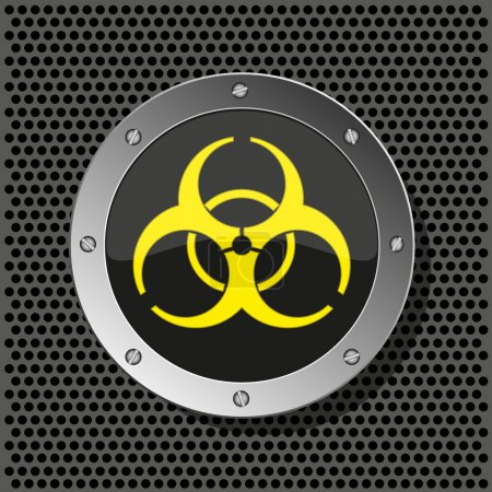 Biohazard circle icon on metal plate for your design.Vector illustration
